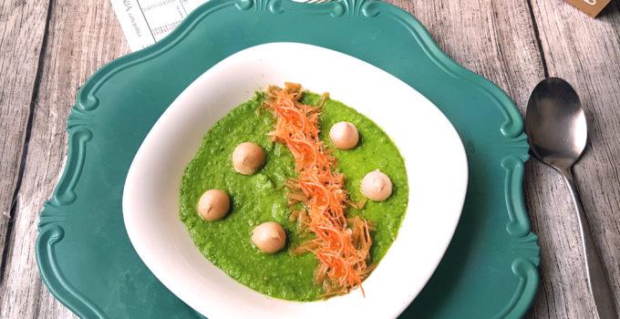 Vellutata di piselli, asparagi, zucchine e porri gluten free