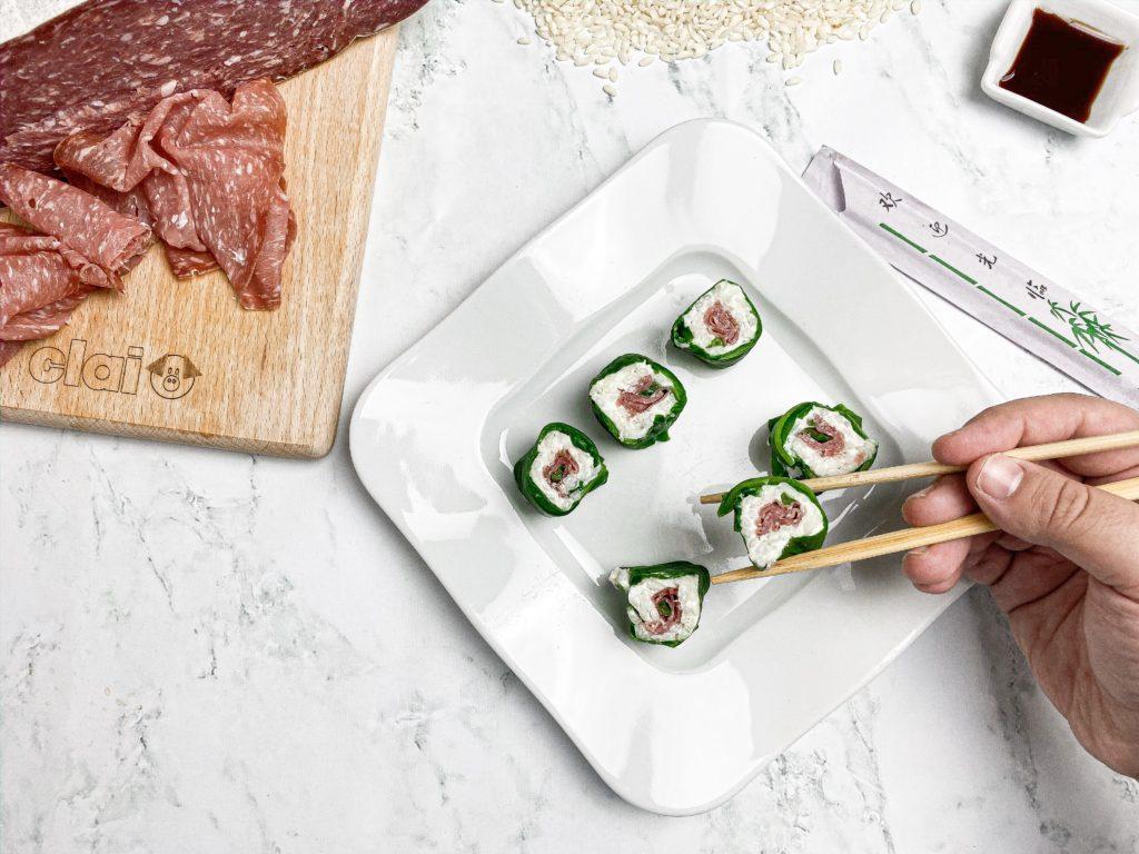 sushi con Salame Bellafesta Light Clai