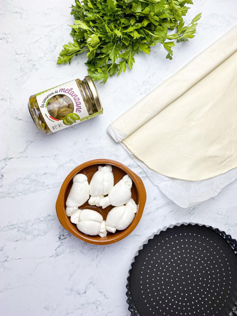 Ingredienti Pizza rustica con melanzane e mozzarella